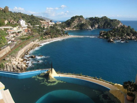 B&B Miramare: view half way between Giardini Naxos and Taormina