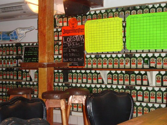 Pedro's Hotel: Bar/restaurant-they love their Jaegermeister!  These are all EMPTY bottles!