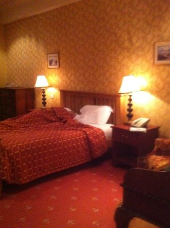 Miskin Manor Hotel and Health Club: the bed, with occupant!