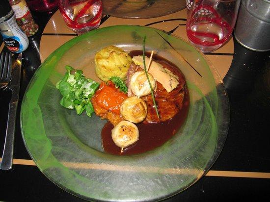 La Plancha Gourmande : pavé de boeuf Rossini et légumes variés