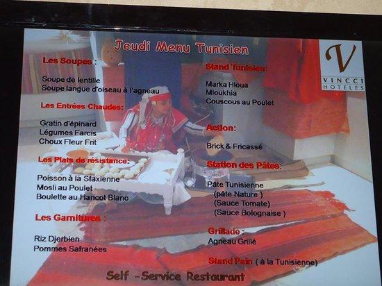 Golden Tulip Taj Sultan Resort : menu tunisien