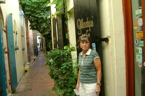 Gladys' Cafe: my wife after a great time at Gladys'