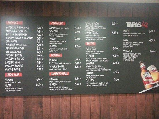 Cafe Bar Tapas 42 : Carta