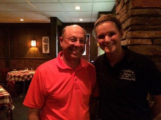 Roepke's Village Inn: Our waitress, Veronica, with John (bartender? cashier?)