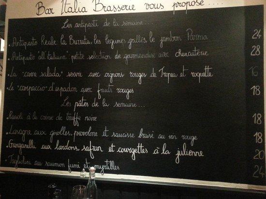 Bar Italia Brasserie : menu