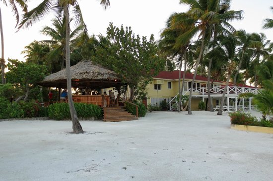 Turneffe Island Resort: View from beach of the outdoor bar and restaraunt building.