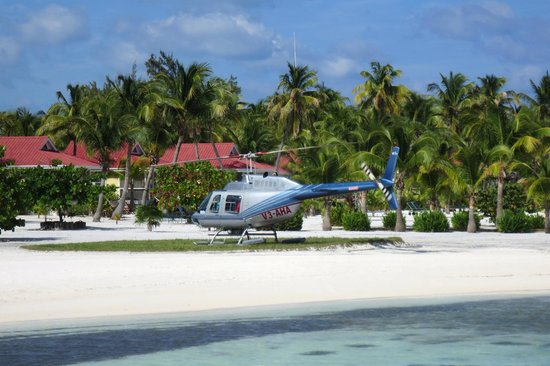 Turneffe Island Resort: A helicopter visit!