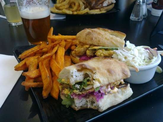 Seaport Fish: Fried Oyster Po'Boy sandwich, sweet potato fries and coleslaw