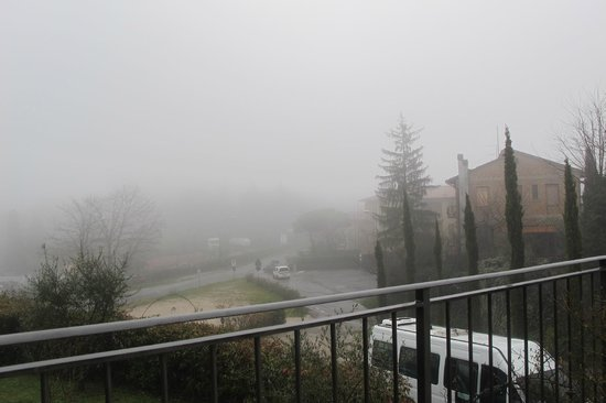 Albergo San Biagio: View from the Hotel on a rainy and foggy February day