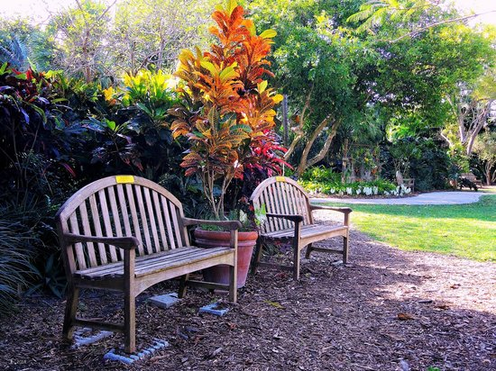 Heathcote Botanical Gardens: Two of the many benches advantageously situated throughout the Garden