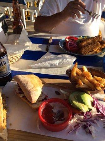 The Drunken Sailor : Shrimp burger on ciabatta bread with lime fries