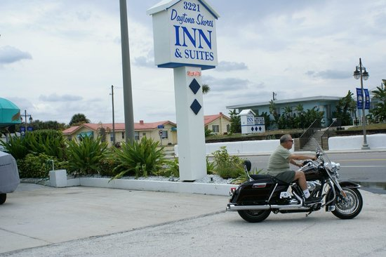 Daytona Shores Inn and Suites: richard and our sign on guests bike 2012 bikeweek