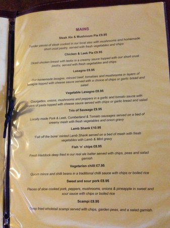 Tideswell, UK: Menu