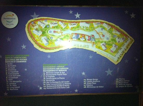 PortAventura Hotel Caribe: Mapa hotel