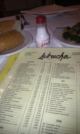 La Trucha : Menu