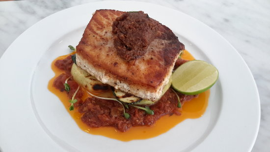 Lubu Restaurant: Seared Swordfish, Tomato Frito & Bacon Jam