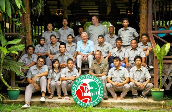 Sukau Rainforest Lodge: David Attenborough with our team in 2012