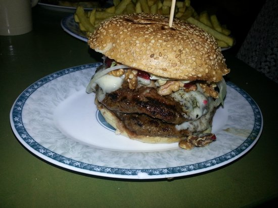 Burgeramt: A double patty Gorgonzola burger with walnuts and cranberries.