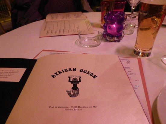 The African Queen : menu