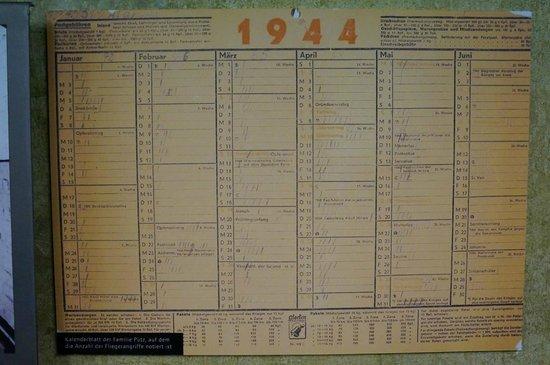 National Socialism Documentation Center : Alter Kalender mit Eintragungen über Bombenangriffe