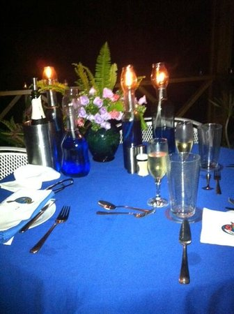 Hotel Mocking Bird Hill : Candle Light dinner with a view over Port Antonio