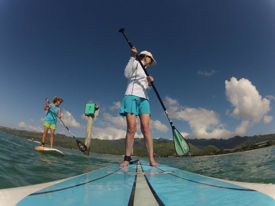 Three Friends Stand Up Paddle Adventures: Vanya and I looking for a puffer fish we paddled by