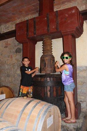 Castello di Monterinaldi: Kids with the old wine press