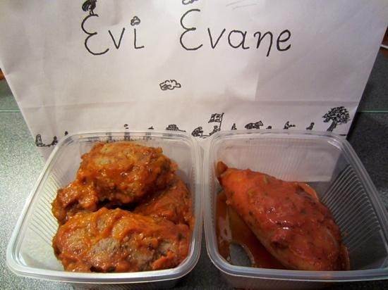 Evi Evane: Veal meatballs and stuffed calamari