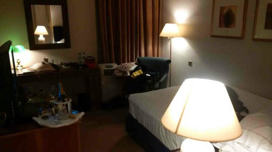 Sheraton Grand London Park Lane: Single room with a double bed shoved in the corner