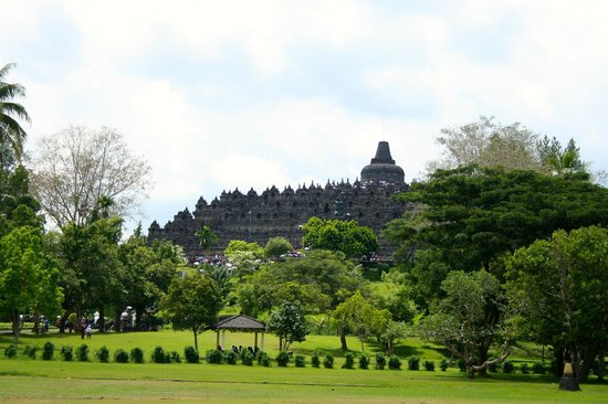Borobudur temple from distance