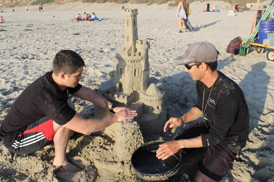 San Diego Sand Castles: TJ showing us the ropes