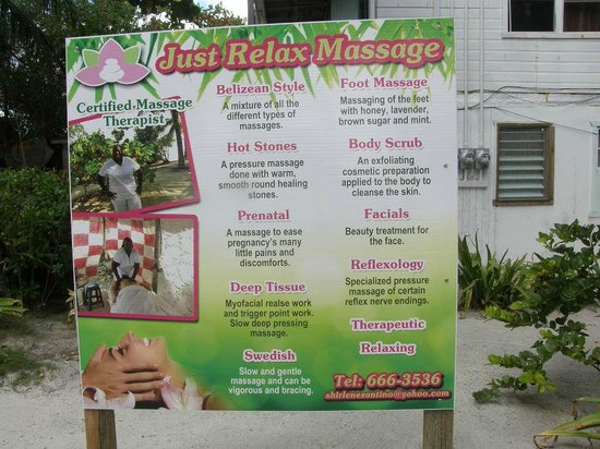 Caye Casa: Shirlenes Massages are wonderful and only $35.00 per hr.