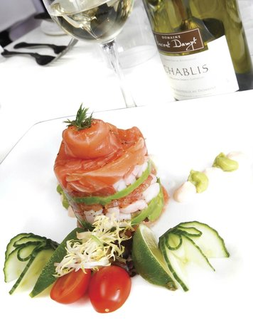 The Cherry House Restaurant: Timbale of smoked salmon with celeriac and prawns.