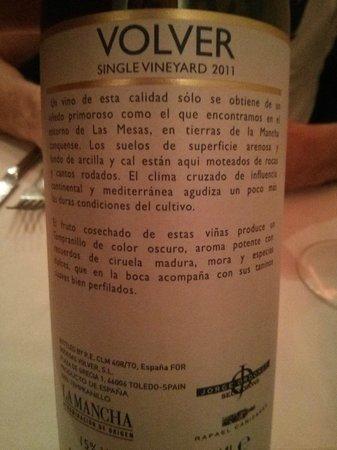 """Casa 9 Restaurante : Vino """"Volver"""""""