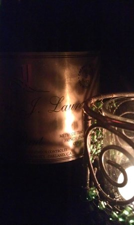 Etta's Seafood : Our bubbly in candlelight