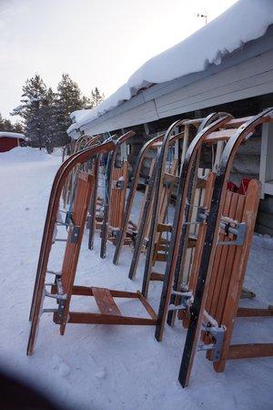 Kakslauttanen Arctic Resort : sleighs at reception