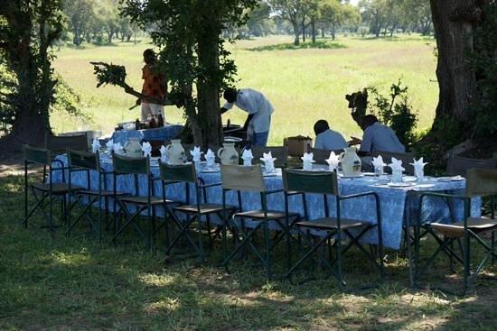 Mfuwe Lodge - The Bushcamp Company: Fantastisk å komme til dekket bord ute i det fri!