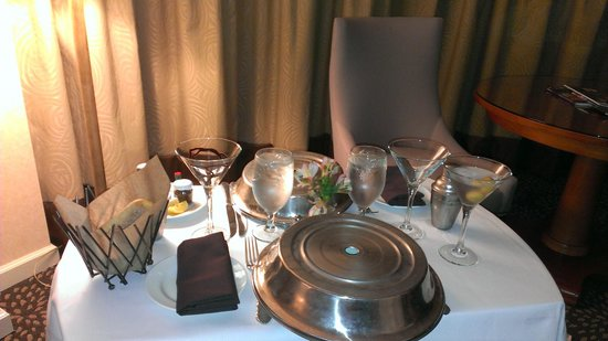 Omni Mandalay Hotel at Las Colinas: Room Service Fresh Sea Bass & 10oz Steak with Martini's
