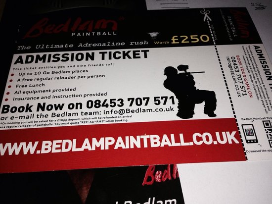 Bedlam Paintball Glasgow: This is not a free voucher you still must pay non refundable deposit