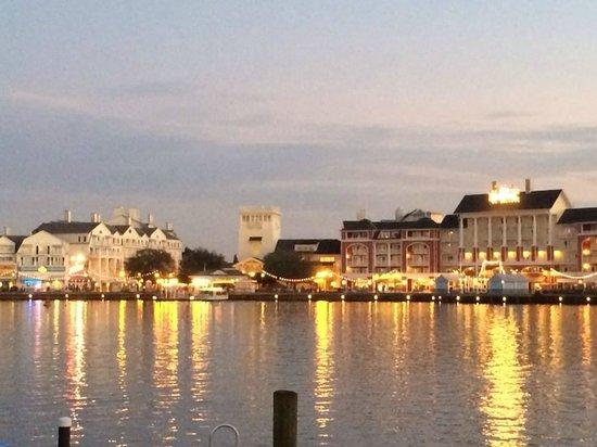 Disney's BoardWalk Villas: View of Boardwalk at dusk from across the lake