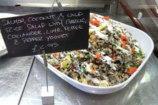 Clervaux Artisan Bakery and Cafe: Salmon coconut & wild rice salad - with garlic, lime, pepper & pepper yoghurt