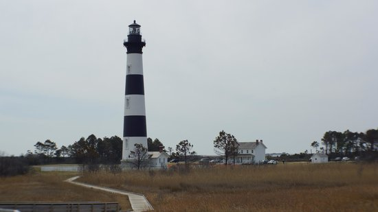 Bodie Island Lighthouse: View of lighthouse from wildlife observation platform