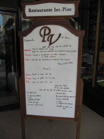 PV Restaurante Lounge: Menu do dia