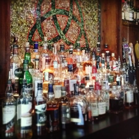 Fionn MacCool's Irish Restaurant and Pub: 3 Tier Shelf of Irish Whiskey, Scotch and Bourbon? Does it get much better than that?