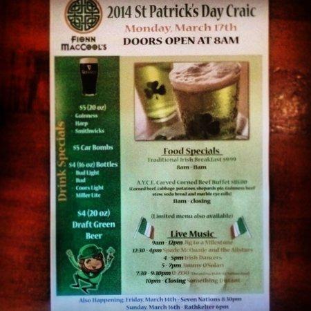 Fionn MacCool's Irish Restaurant and Pub: 20 Days left.. Where do you St.Paddy?