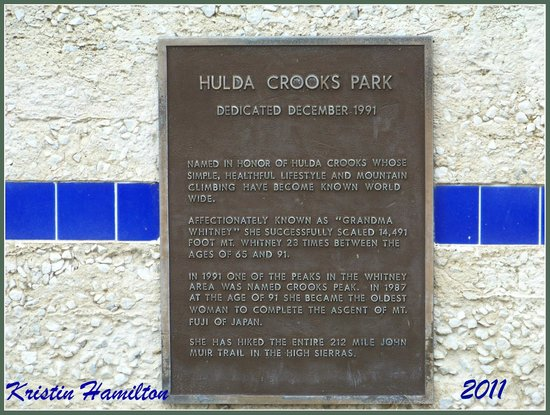 Hulda Crooks Park: The plaque of Hilda Crook- Park named for this great lady.
