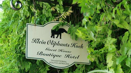 Residence Klein Oliphants Hoek: Schild