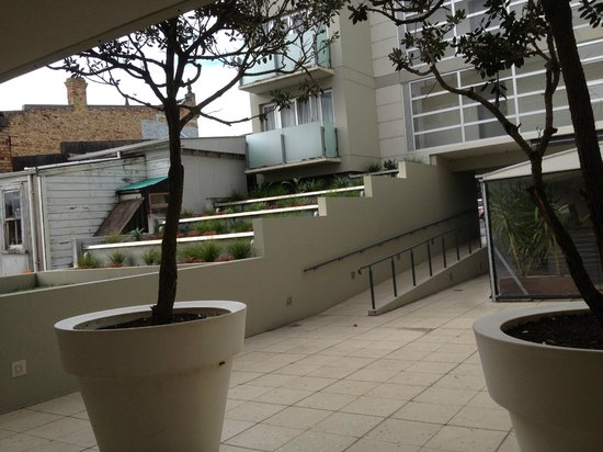 Courtyard of Quest Ponsonby - bad acoustics reflect and amplify noise. taken from front door of