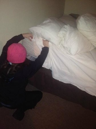 Hotel & Motel La Marquise : The 1st reaction of one of the girls - to look for bedbugs...