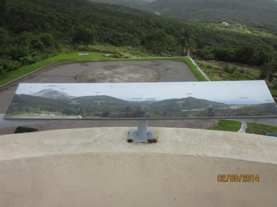 Montserrat Volcano Observatory: Panoramic photo explaining what you're looking at from the Observatory